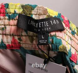 NWT Lafayette 148 New York Tropic Teal Floral Silk Drawstring Pant Large $498