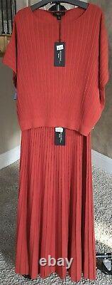 NWT Weekend MaxMara $425 12-14US/L Maxi/Midi Rib Pleated Skirt/Strapless Dress