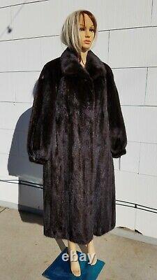 Near MINT Med L XL 44 Bust Dark Brown MINK Fur Women Full Length Long Coat