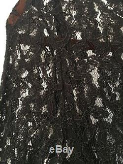 New By Malene Birger Black Lace Palomos High Neck Maxi Long Party Dress & Slip, L