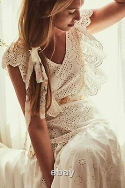 New Free People Cressida LoveShackFancy Maxi Dress, Ivory, Large, RRP $545