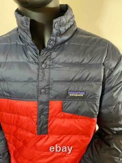 New Patagonia Down Snap-T Shirt Jacket 600 Fill Light Weight Men L/XL Navy/Red