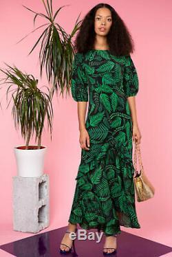 New Rixo Cheryl Teal Cuba Palm With Frill Hem Dress Sz XS S M L XL