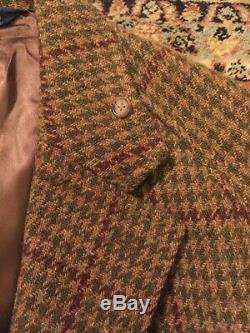 POLO Mens Vintage Tweed Long Overcoat Size Approx. L