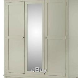 Padstow Grey Triple Wardrobe Large Painted Solid Pine Wood with Drawers & Mirror
