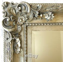 Paris Full Length Large Ornate Floor Wall Mirror Silver 69x33 or 175cm x 84cm