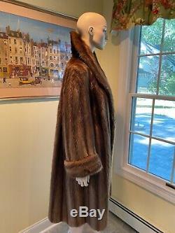 Plus Size 16 X-Large Genuine Canadian Beaver Real Fur Coat 44 Long Full Length
