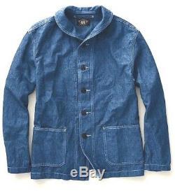 Polo Ralph Lauren Rrl Indigo Cotton Linen Shawl Military Chore Jacket $490+