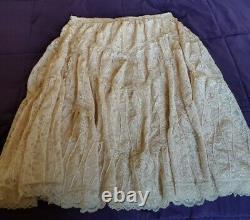 RARE Free People Annie Oakley boho lace maxi skirt L EUC