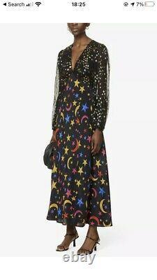 RIXO Melanie Graphic Print Silk Midi Dress Stars BNWT Size L / 14 RRP £335 Stars
