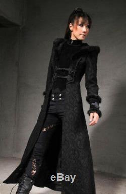 RQ-BL RQBL Womens Long Hooded Coat Jacket Black Gothic Steampunk HALLOWEEN! NWT