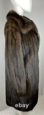 RUSSIAN SABLE Real Fur Full Length Coat Jacket Size M-L 6-10