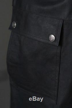 Raberg Full Length Black Real Leather Trench Coat Goth Matrix Duster Ledermantel