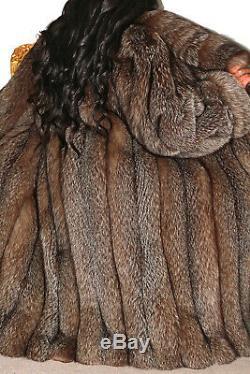 Real Full Length Crystal Silver Saga Fox Fur Coat Long Indigo Jacket Size L XL