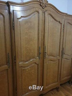 Real Quality Large Vintage French Louis XIV Solid Oak 4-Door Armoir / Wardrobe