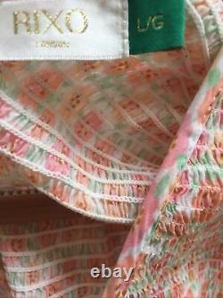 Rixo London Brooke Dress in Retro Micro Floral. Shirred Printed Silk Size L (14)