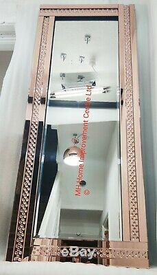 Rose Gold Floating Crystal Wall Mirror Large180x70cm Sparkly Full Length Tall