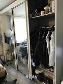 Ruach Large White Mirrored Sliding Door Wardrobe