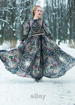 Russian style Dress Maxi. Designer Clothing. Exclusive. Full-Length