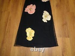 Salvatore Ferragamo Amazing Black Layered Big Flowers Print Maxi Dress-l