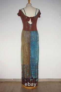 Save The Queen Jean Paul Gaultier Style Multicolored Maxi Dress Size L