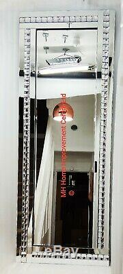 Silver Crystal Sparkly Wall Mirror Extra Large 180x70cm Full Length Tall