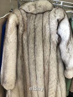 Silver Fox Fur Coat Full Length Medium / Large