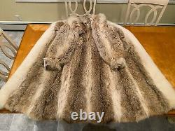Size 12 Large Coyote & White Blush Arctic Fox Real Fur Coat 49 Long Full Length