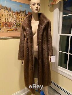 Size 12 Large Golden Blonde Canadian Beaver Real Fur Coat 45 Long Full Length
