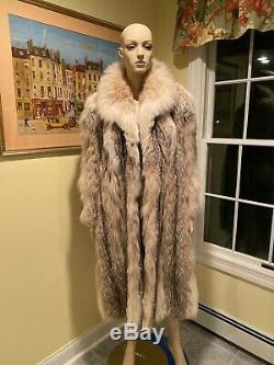 Size 14 XL Large 45 Long Russian Genuine Real Lynx Full Length Fur Swing Coat