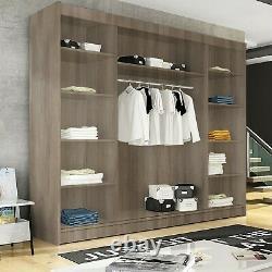 Sliding Doors Large Wardrobe Bedroom Shelves Closet Cabinet Matt Finish 250cm