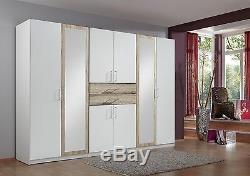 SlumberHaus'Diver' Large 270cm White, Oak and Mirror Wardrobe with Drawers