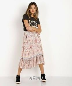 Spell & The Gypsy Free People Zahara Rosewater Pink Floral Midi Skirt L NWT