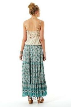 Spell & The Gypsy Kombi Sage Green White Full Sweep Print Maxi Skirt NWT sz L