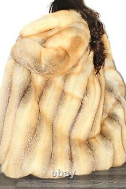 Stunning Full Length Real Golden Island Red Fox Genuine Fur Coat Jacket L XL