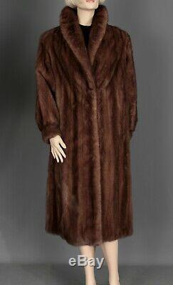 Sz Large Real Mink Fur Ladies Full Length Vintage Coat Luxurious Lining
