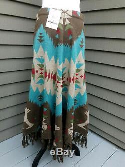 Tasha Polizzi Women's Teal Cheyenne Tipi Skirt Size LG NWT MSRP $198
