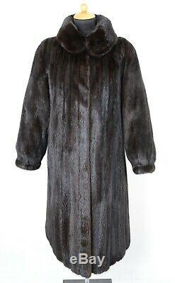 Us2408 Blackglama Mink Fur Coat Full Length Lightweight Size L Nerzmantel