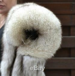 Us2545 Amazing Blue Fox Fur Coat Full Length Size L Class Of Siver Fox