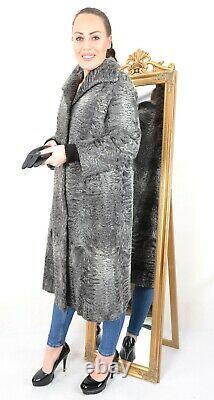 Us3095 Gray Swakara Persian Lamb Fur Coat Full Length Size L Persianer Mantel