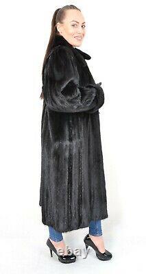 Us3097 Amazing Dark Mink Fur Coat Full Length Jacket Size L Nerzmantel