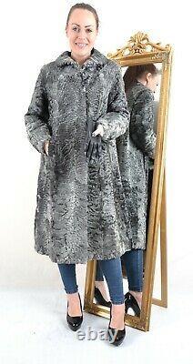 Us3123 Gray Swakara Persian Lamb Fur Coat Full Length Size L Persianer Mantel