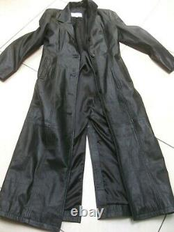 VALI black full length leather TRENCH COAT 14 12 steampunk goth duster long soft