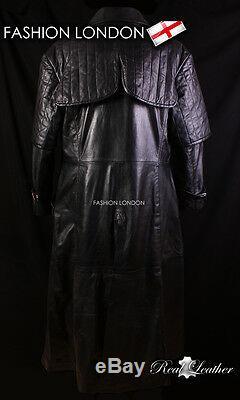 VAN HELSING Men's Full-Length Leather Coat Black Long Leather Duster Coat Jacket