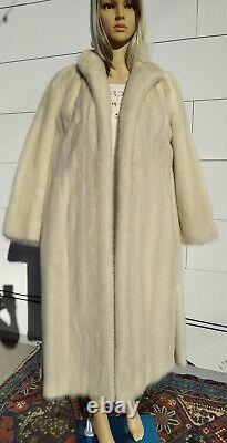 VIDEO! Near MINT! Med Large BLONDE Mink 42 Chest Long Fur Coat Full-Length Fur