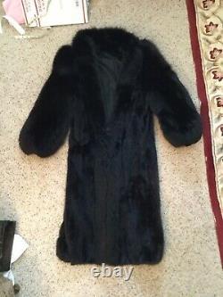 VINTAGE MINK FOX FUR BLACK FULL LENGTH COAT JACKET sz L, STUNNING