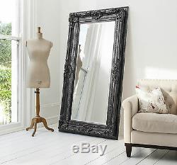 Valois Large Black shabby chic Full Length Wall Leaner Floor Mirror 72 x 38