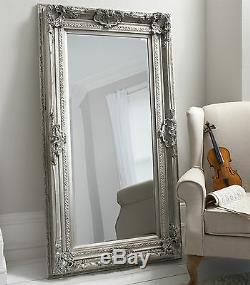 Valois Large Silver shabby chic Full Length Wall Leaner Floor Mirror 72 x 38