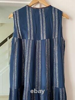 Verb by Pallavi Singhee @ ANTHROPOLOGIE Embroidered Shimmer Maxi Dress Size L