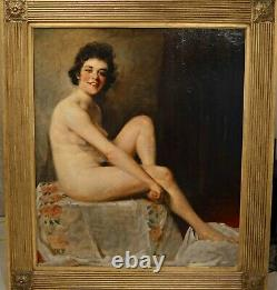Very Fine Large Antique Early 20th Century Full Length Nude Oil Painting WATELET
